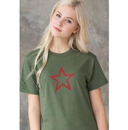Red Star T Shirt Geometric Abstract Minimalist Distressed Khaki Cute Tee