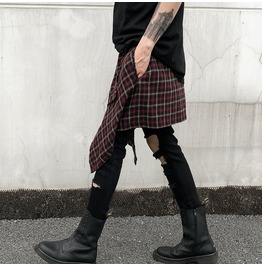 Rebelsmarket mens new fashion accessory checkered skirt wrap pants 8