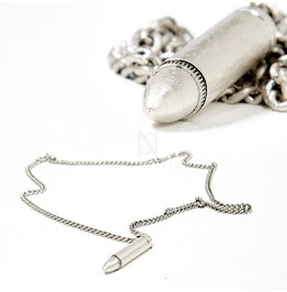 Distressed Silver Bullet Pendant Chain Necklace 79