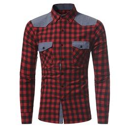 Hipster Grunge Plaid Long Sleeves Men Shirt