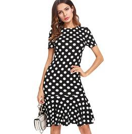 Trendy Women's Ruffled Hem Mini Polka Dot Dress