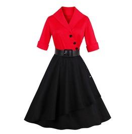 Vintage Rockabilly Red & Black Women Dress
