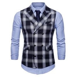 Men's Turn Down Collar Double Breasted Plaid Suit Vest