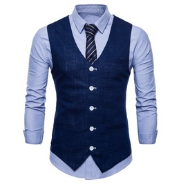 Men's Business Dress Suit Button Down Vest Waistcoat Many Colors