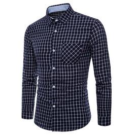Men's Fashion Plaid Printed Slim Fitted Shirt