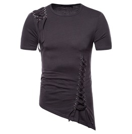 Men's Lace Up Irregular Hem T Shirt