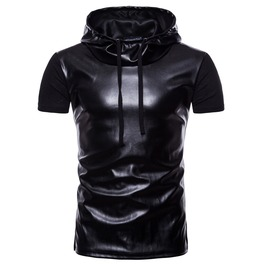 Men's Faux Leather Colorblock Cotton Hooded T Shirt