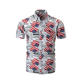 Men's Fashion Printed Leisure Button Down Shirt