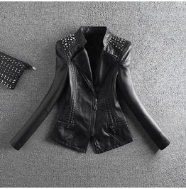 Rock Rivets Leather Women Jacket