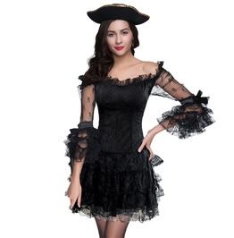 Gothic Women's Black Off Shoulder Mini Dress