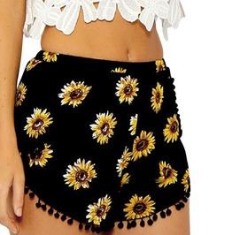 Boho Chic Floral Print Pom Pom Mini Shorts