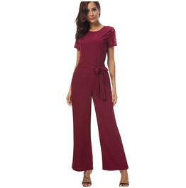 Women's Lace Colorblock Lace Up Slim Fitted Jumpsuits