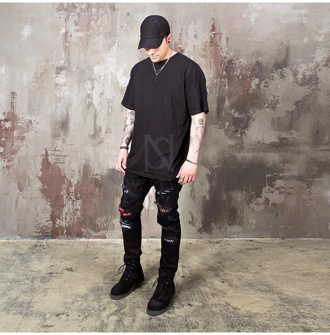 fb0f741f4 Artistic Pattern Layered Distressed Black Jeans 387 | RebelsMarket