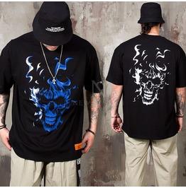 Burning Skull Printed T Shirts 929