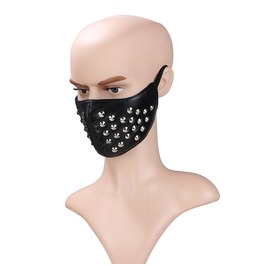 Unisex's Faux Leather Fashion Half Face Punk Cosplay Rivet Mask