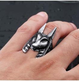 Men's Stainless Steel Jackal Head Egypt God Anubis Ring Unique Vintage