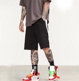 Men's Colorblock Ribbon Cargo Cotton Shorts