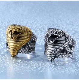 Men's Vintage Stainless Steel Coiled King Cobra Snake Ring