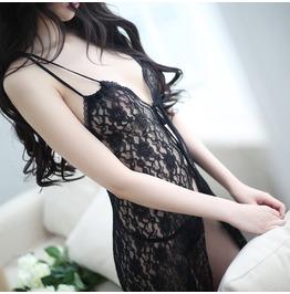 Women's Romantic Black Sexy Backless Lingerie Lace Babydoll Set