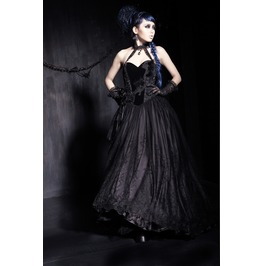 Gothic Black Velvet And Lace Victorian Style Long Dress For Women