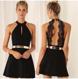 Back Lace Black Halter Women Dress