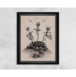Giclee Print Of A Pile Of Skulls And Celtic Crosses