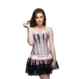 Pink Satin Handmade Sequins Overbust Top &Black Net Tutu Skirt Corset Dress