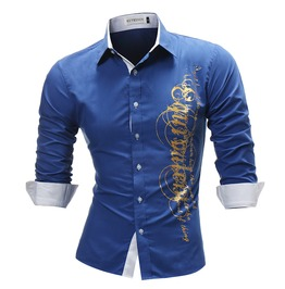 2018 Fashion Male Shirt Rock Shirt New Long Sleeve Tops Letter Print Men
