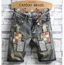 High Quality Retro Distressed Patchwork Denim Men Shorts
