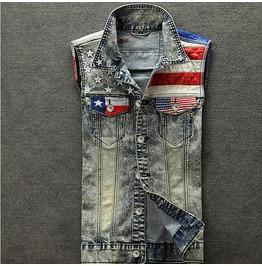 Washed Denim Jeans American Flag Men Vest