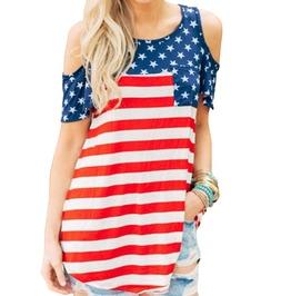 Trendy Women's Cold Shoulder American Flag Loose Shirt