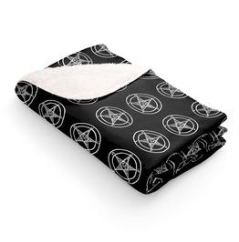 Black Pentagram Sherpa Fleece Throw Blanket