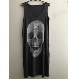 Skull Goth Pop Art Long T Shirt Dress