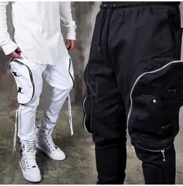 4 Buckle Strap Bag Pocket Banding Pants 228