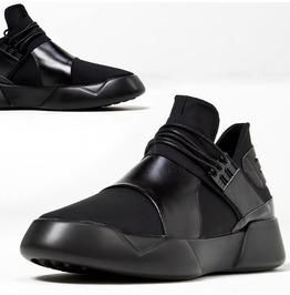 Futuristic Black Leather Contrast Sneakers 435