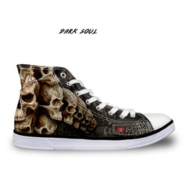 Rock Skull Men's High Top Shoes Classic Male Shoes Black