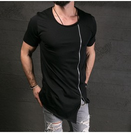 Avant Garde Asymmetrical Side Zipper Stylish Men T Shirt