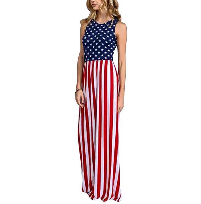 Trendy Women\'s Floor Length American Flag Dress