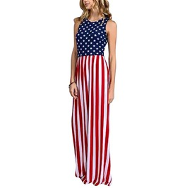 Trendy Women's Floor Length American Flag Dress