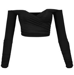 Off Shoulders Slash Neck Long Sleeve Sexy Summer Goth Womens Crop Top