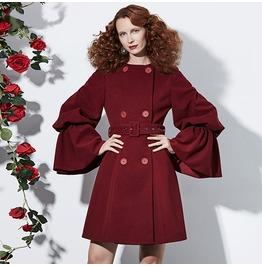 Burgundy Retro Vintage Belted Midi Womens Coat Outerwear