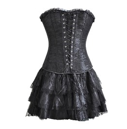 Sleeveless Off Shoulders Burlesque Lace Up Hollow Mini Womens Corset Dress