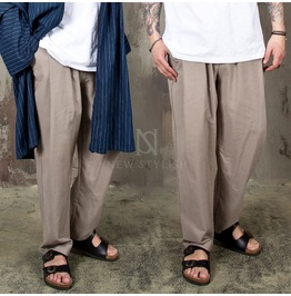 Pintuck Wide Linen Banding Pants 222