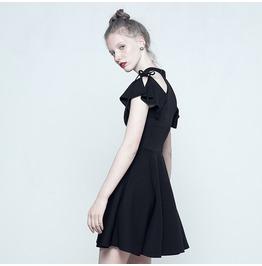 Black Gothic Off The Shoulder Moon Pattern Summer Short Dress