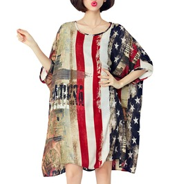 Urban Women's Chiffon American Flag Print Dress