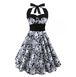 Gothic Women's Skull Printed Halter Neck Plus Size Dress