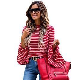 High Fashion Women's Red And White Stripe Long Sleeve