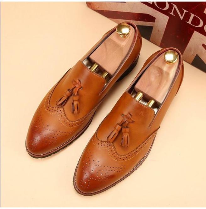 eb3328f485c Handmade Men Wingtip Brogue Tassels Shoes Men Tan Color Formal Shoes Loafer