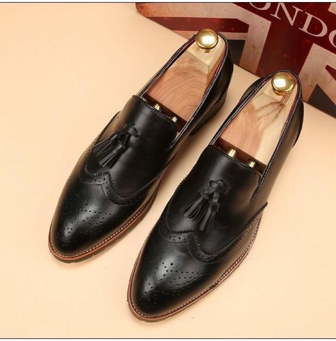 5b750988b86 Handmade Men Wingtip Brogue Tassel Shoes Men Black Color Dress Shoes Loafer