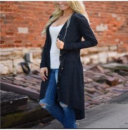 Women Loose Sweater Long Sleeve Button Knitted Cardigan Outwear Jacket Coat